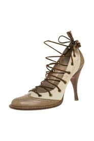 Beige Brogue Leather And Canvas Lace Pumps