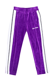 Velour trousers with side stripes