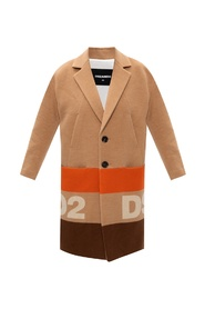 Wool coat with logo