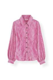 Rosa Ganni Ganni Pleated Satin Shirt - Moonlight Mauve Bluse Og Skjorter