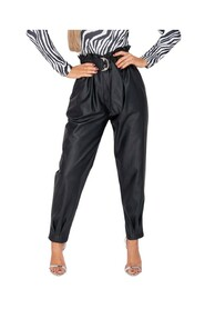 PU Paperbag Waist Pleated Hem Tapered Trousers