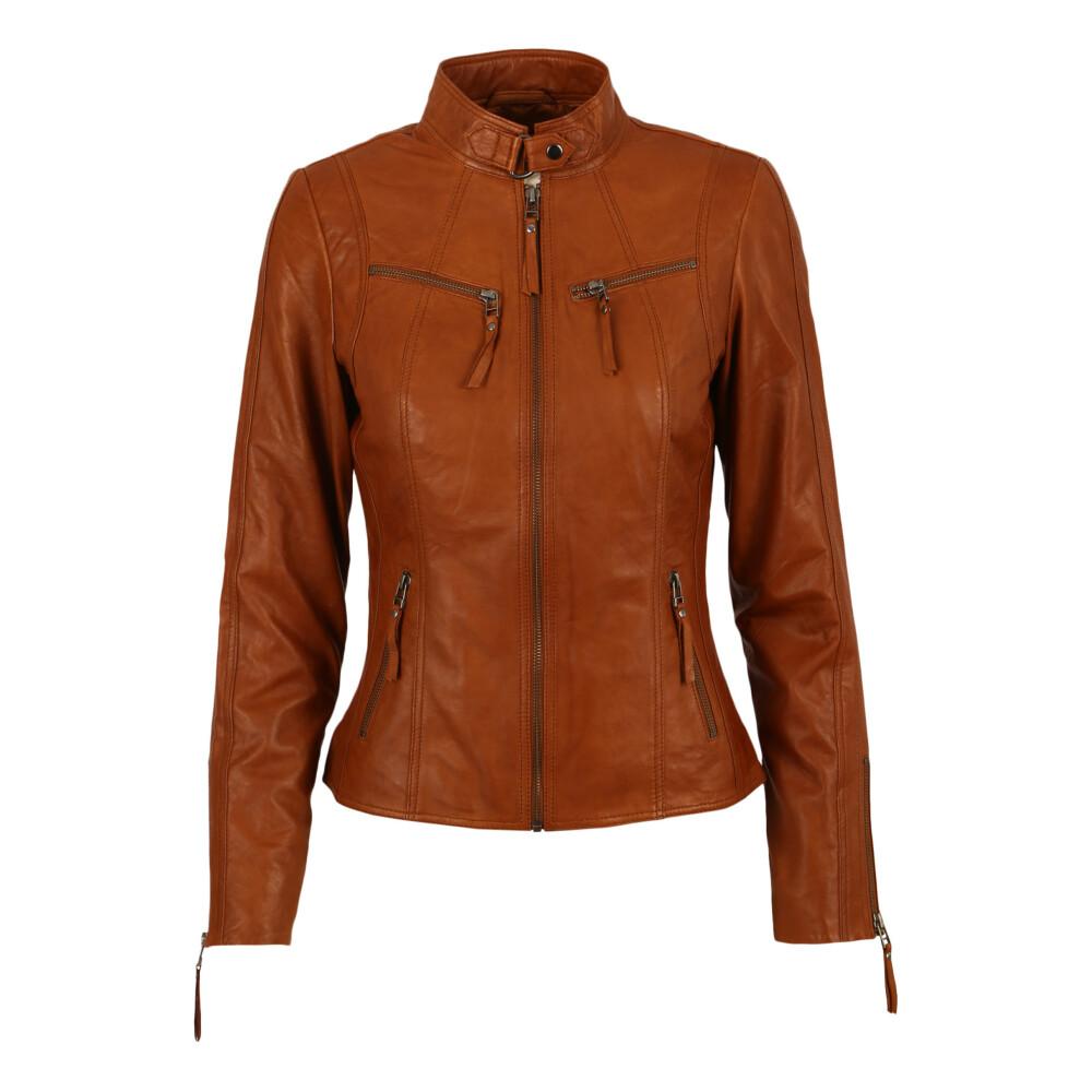 Cognac Zilla Leather Jacket | Gestuz | Skinnjakker | Miinto.no