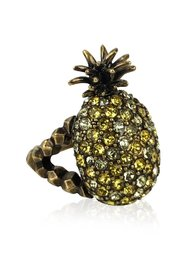 Gold Metal Embellished Crystal Pineapple Ring Size L Never Worn