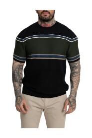 Panel Stripe Knit T-Shirt