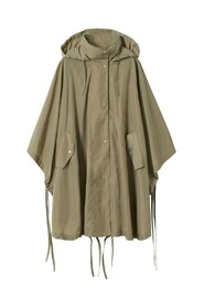 Hooded oversize cape