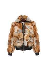 Short natural fur bomber jacket