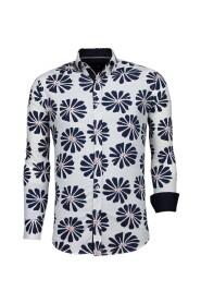 Italiaanse Slim Fit Overhemd - Blouse Big Leave Pattern