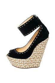 Suede Peep Toe Wedge Espadrille Ankle Wrap Sandals