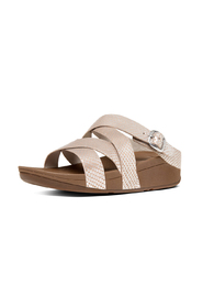Sølvfarget Fitflop Snake The Skinny Criss-Cross Slide Sandal