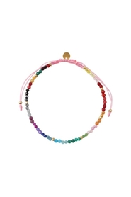 Rainbow Mix & Light Pink Ribbon Bracelet