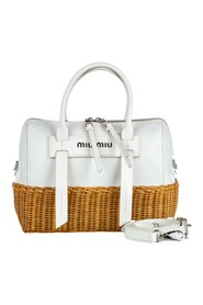Leather and Rattan Satchel