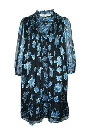 Print Loose Fitting Dress With Pleats At Front