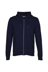 Navy zip-up hoodie in organic cotton