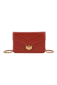 Chevron Leather Wallet on Chain