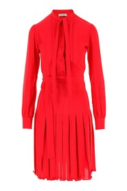 Red Aida dress with a pleated skirt