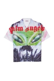 AW19 Oversized Bowling Shirt with Alien Print in Front