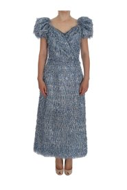 Ruffled Fringe Long Sheath Dress