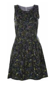 Black Dress With Multicolors Embroidered Details