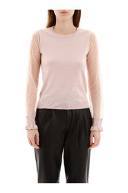 Pullover with plumetis sleeves