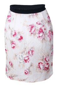 Floral Print Thread Pull Hem Skirt -Pre Owned Condition Very