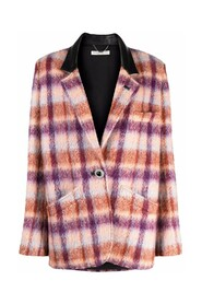 BRUSHED TWEED JACKET WITH LEATHER DETAILS