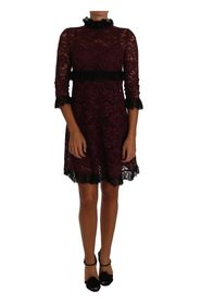 Floral Lace Bourgogne Gown Mock Collar Kjole