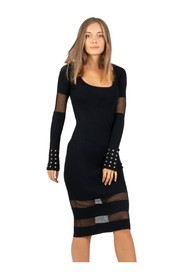 Knitted dress with transparencies