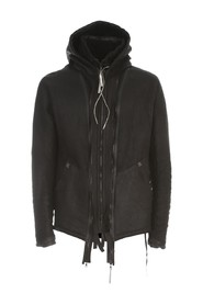 HOODED FUR JACKET W/ZIP
