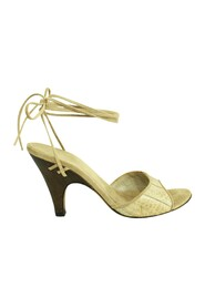 Snakeskin Low Heels Tie around Ankle