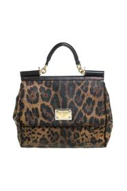 Leopard Print Coated Canvas and Leather Large Sicily Top Handle Bag
