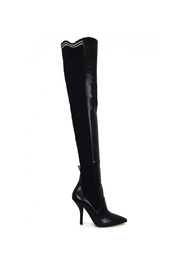 Stretch leather over-the-knee boots