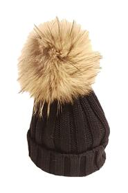 RIBBED HAT WITH FUR PON PON