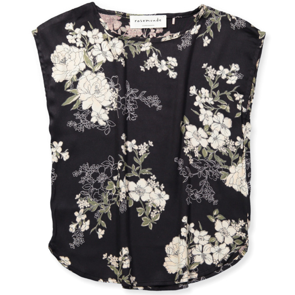 Rosemunde Blouse SS, Black Fairy Flowers Print