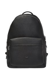 Leather backpack with logo