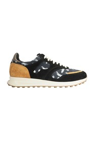 Arusha-Ebène leather and fabric running sneakers