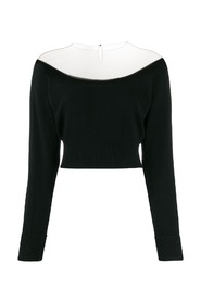 FITTED CROPPED L / S PULLOVER WITH SHEER YOKE
