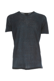 ROUND NECK LINEN T-SHIRT WITH SHADOWS