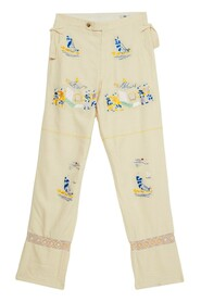 Sailing Tableau Embroidered Silk Trousers