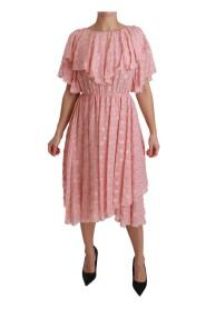 Stippen geplooide A-lijn Midi jurk