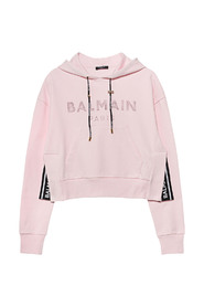 CROPPED STRASS LOGO HOODIE