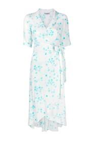 Printed Crepe Wrap Dress