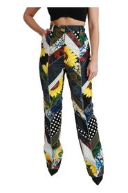 Print High Waist Straight Pants