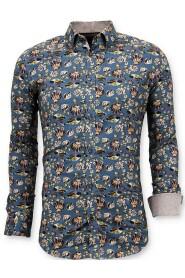 Luxe Italiaanse Overhemd -  Digitale Bloemen Print - 3062