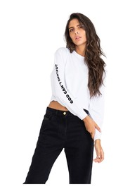 Crop sweater with crew neck