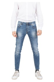Davis Shorter jeans medium sandblasted denim with stains
