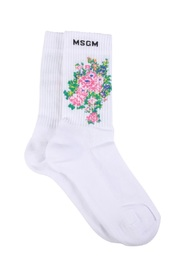 SOCKS WITH LOGO AND FLOWERS