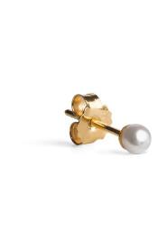 Small Pearl Stud, forgyldt sterling sølv