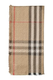 TB Giant Check Gauze Scarf in Archive Wool