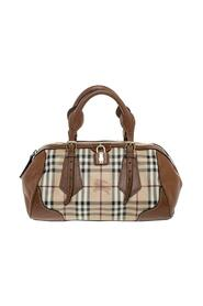 Pre-owned Haymarket Check Coated Canvas and Leather Boston Bag