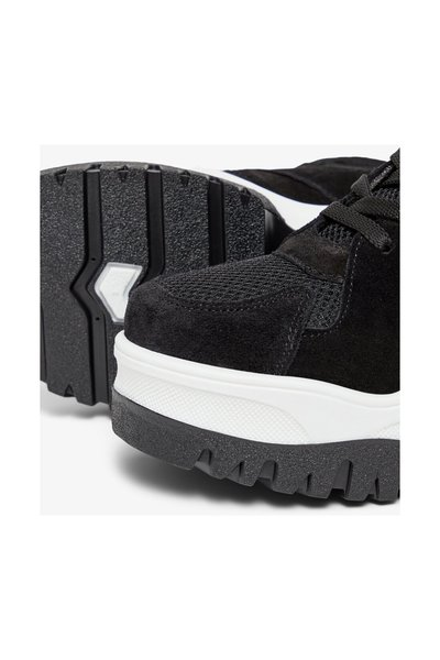 Black High Top Trainers Chunky Sole Bianco Sneakers